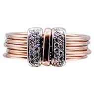 Vintage 18k 5-Band Diamond Ring