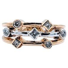 Vintage 3-Row Two-Tone Diamond Ring