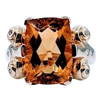 Vintage Citrine & Diamond Ring