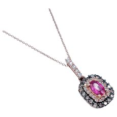 Effy Rose Gold Ruby & Chocolate Diamond Necklace