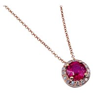 Effy Rose Gold Ruby & Diamond Necklace