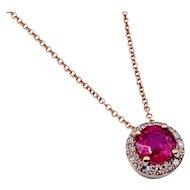 Effy Rose Gold Ruby & Diamond Necklace