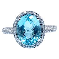 Effy Swiss Blue Topaz with Diamond Halo Ring