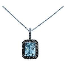 Aquamarine & Champagne Diamond Effy Necklace