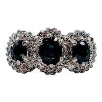 Vintage 3-Stone Sapphire & Diamond Ring