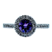 Beautiful Amethyst & Diamond Halo Ring