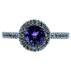 Beautiful Amethyst & Diamond Halo Ring