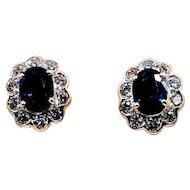 Vintage Sapphire and Diamond Earrings 18k
