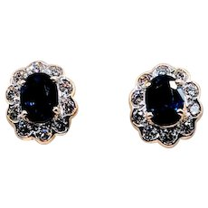 Vintage Sapphire and Diamond Earrings 18k