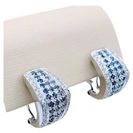 Sapphire & Diamond Lever Stud Earrings