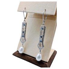 Art Deco Spinel & Diamond Earrings