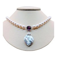 18kt Cultured Pearl & Syn Pink Sapphire Necklace