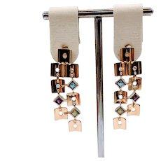 Multi Gemstone Tiled Dangle Earrings 18k