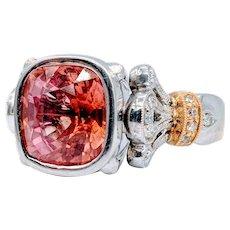 Padparadja Sapphire & Diamond Ring