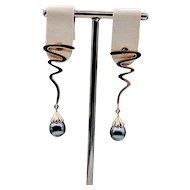 Zig Zag Tahitian Cultured Baroque Pearl Drop Earrings 14ky