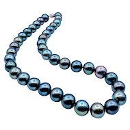 "Tantalizing Tahitian 17"" Cultured Pearl Strand 10.5-11.3mm 14k"