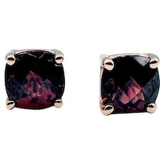 Cushion Cut Mozambique Garnet Earrings 14ky