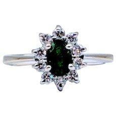 Emerald & Diamond Halo Ring