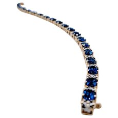 Synthetic Sapphire Bracelet with Natural Diamonds