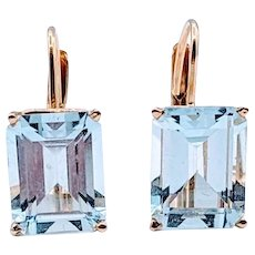 """A"" Quality Emerald Cut Aquamarine Earrings 4ctw"