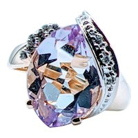 Stunning Large Amethyst & Diamond 14k Ring