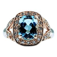 Gorgeous Blue Topaz  & Diamond 14k Ring