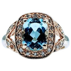 Gorgeous Blue Topaz  & Diamond 14k Ring