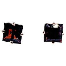 Square Cut Mozambique Garnet Stud Earrings 14ky