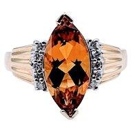 Vintage Custom Citrine and Diamond Ring 14k