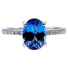 Tanzanite and Diamond Ring 14k White Gold