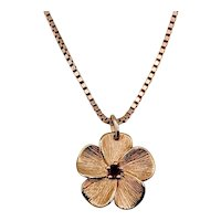 "Vintage Flower Pendant with Pink Tourmaline 20"" Box Chain 14k"