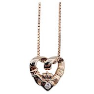 "Heart Claddagh Pendant with Diamond 20"" Box Chain"