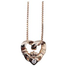 "Heart Claddagh Pendant with Diamond 20"" Box Chain"