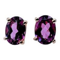 Rhodolite Garnet Oval Stud Earrings 14k