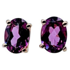 Rhodolite Garnet Oval Stud Earrings 14k
