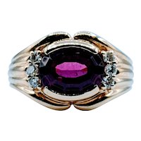 Vintage Garnet & Diamond Ring
