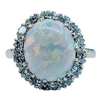 Stunning Vintage Opal & Diamond Ring
