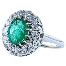 Vivid Emerald & Diamond Halo Cocktail Ring