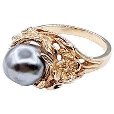 Sophisticated Baroque Pearl & Sculpted 14K Gold Ring