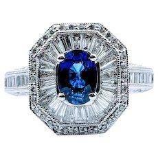 Spark Fine 1.02ct Sapphire & Diamond Ring 18k