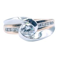 Twist Bezel Two Tone Engagement Ring