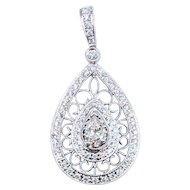 Pear Diamond Pendant .55ct Center 1.05ctw