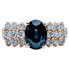 Sapphire and Diamond Right Hand Ring