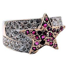 "Custom Made ""Star"" Ruby and Diamond Ring"