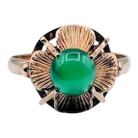 Cool Vintage Green Chalcedony Ring 14k Size 6.25