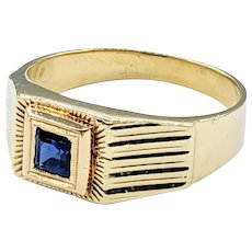 Handsome Sapphire & 18K Gold Ring