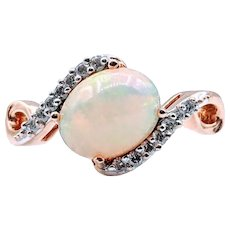 Flashy Ethiopian Opal Ring W/ Diamonds in Rose Gold