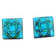 "*Reduced* Wonderful Mosaic Inlaid Black Opal Earrings 14k 3/8"" Square"