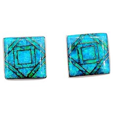 "*Reduced* Wonderful Mosaic Inlaid Black Opal Earrings 14k 3/8"" Square"