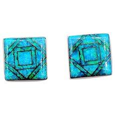 "Wonderful Mosaic Inlaid Black Opal Earrings 14k 3/8"" Square"